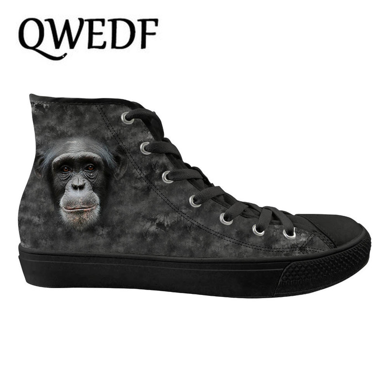 QWEDF 2019 Men's High top Canvas Shoes Breathable Casual Lace up Vulcanized Shoes Animal doodle Men High Top Sneakers G6 37
