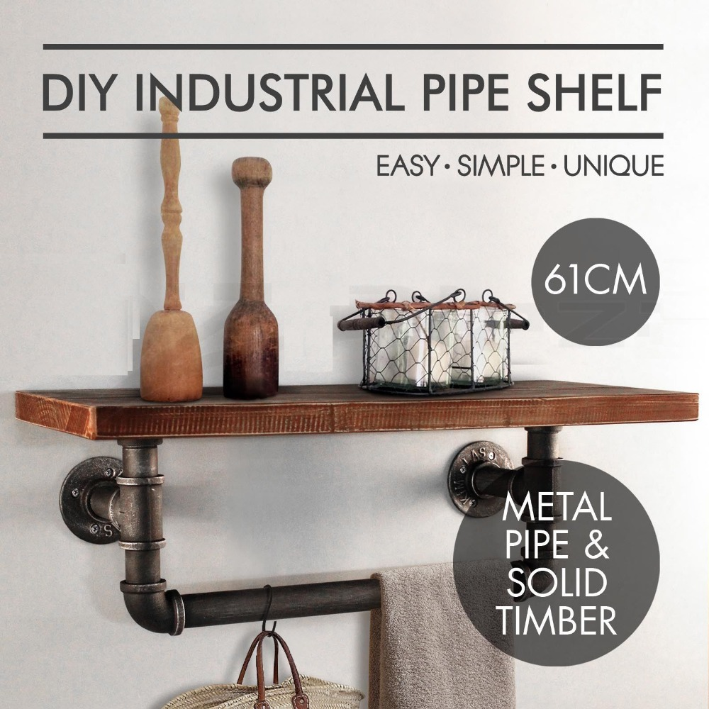 Rummy Wall Mounting Type Bathroom Shelf Industrial Style Metal Pipe Wood Kitchenshelf Towel Rrackpipe Paper Shelf Diy Industrial Bathroom Storage Pipe Rack Wooden Wall