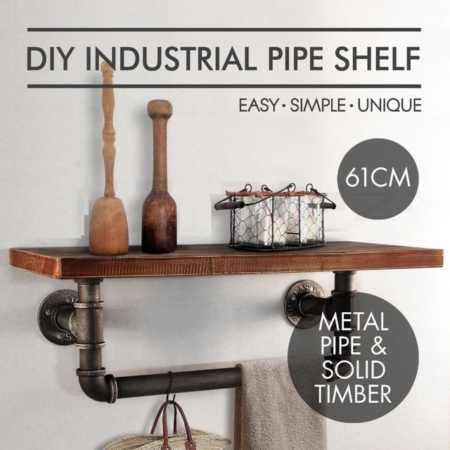 Wall Mounting Type Bathroom Shelf Industrial Style Metal Pipe Wood Kitchen  Shelf Towel Rrackpipe Paper Shelf