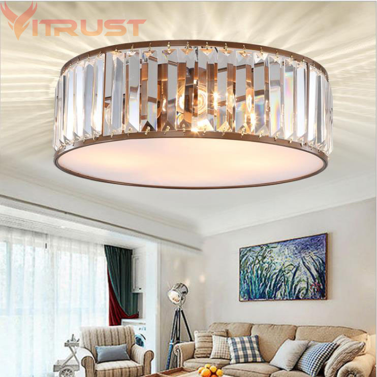 VITRUST Modern Crystal Ceiling Lamp Living Room Bedroom Boys Girls Study Round K9 Chandelier Home Lighting Fixturing  lampara