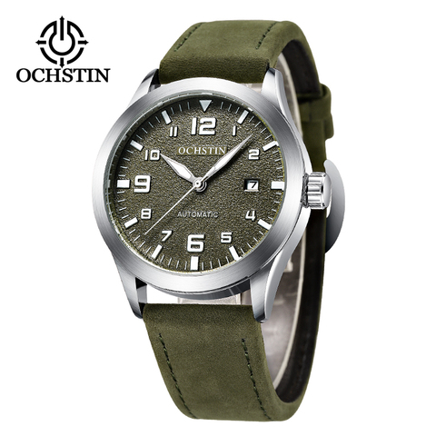 OCHSTIN Man Mechanical Pilot Wrist Watches For Men Luxury Casual Self Winding Leather Mechanic Male Clock Date relogio masculino Karachi