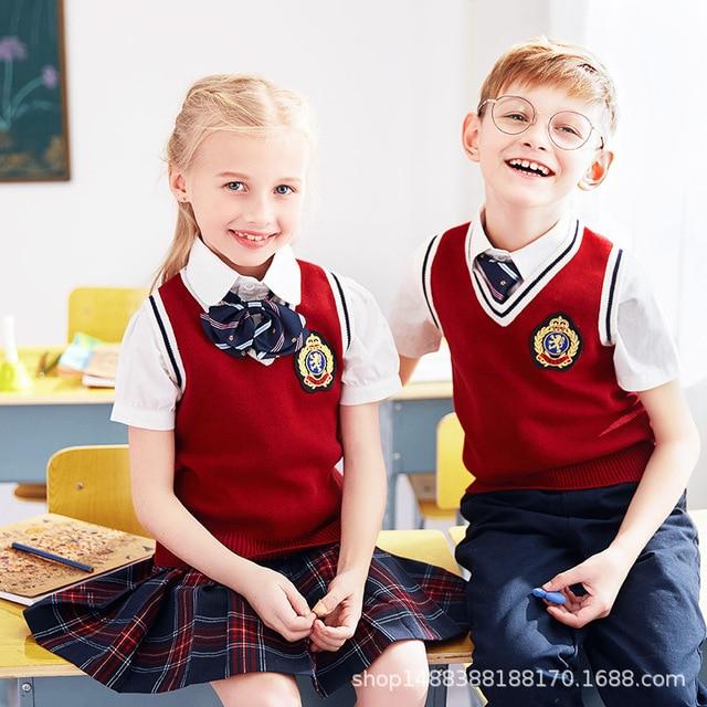 Children School Clothes Boys S Uniforms Sweater Top Skirt Jacket Student Nursery England Wear