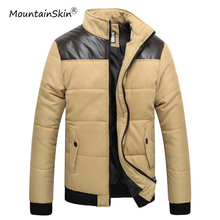 Mountainskin Men s Winter Warm Thick Parkas Casual Cotton Thermal Fitness Jacket Windproof Leather Patchwork Coat