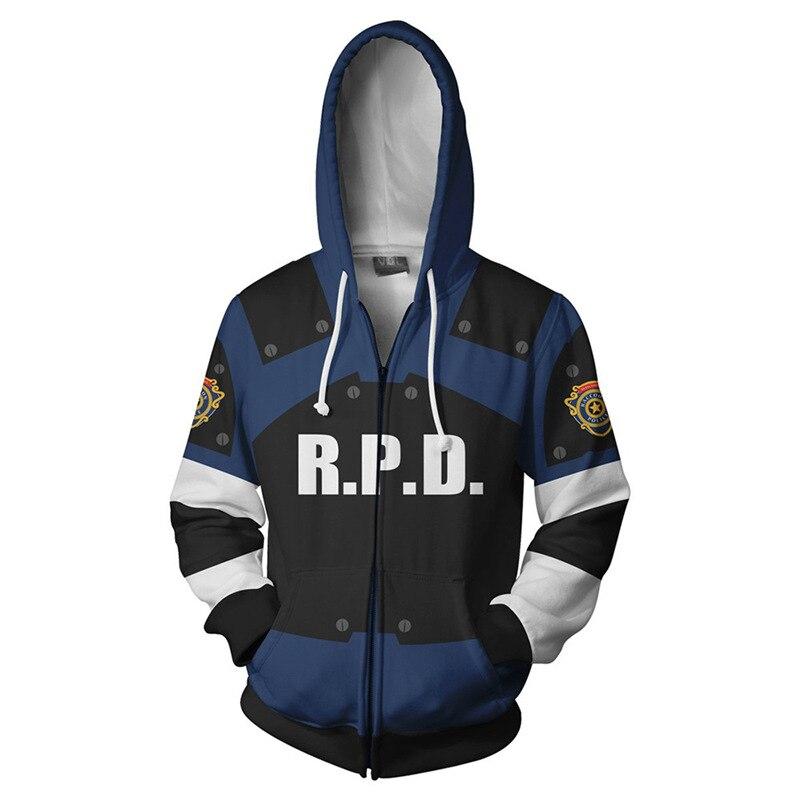 אופנה חם מכירות Resident Evil נים 3D הדפסת גברים הסווטשרט Hoody איש היפ הופ מזדמן מעיל חולצות עם רוכסן בתוספת גודל 5XL