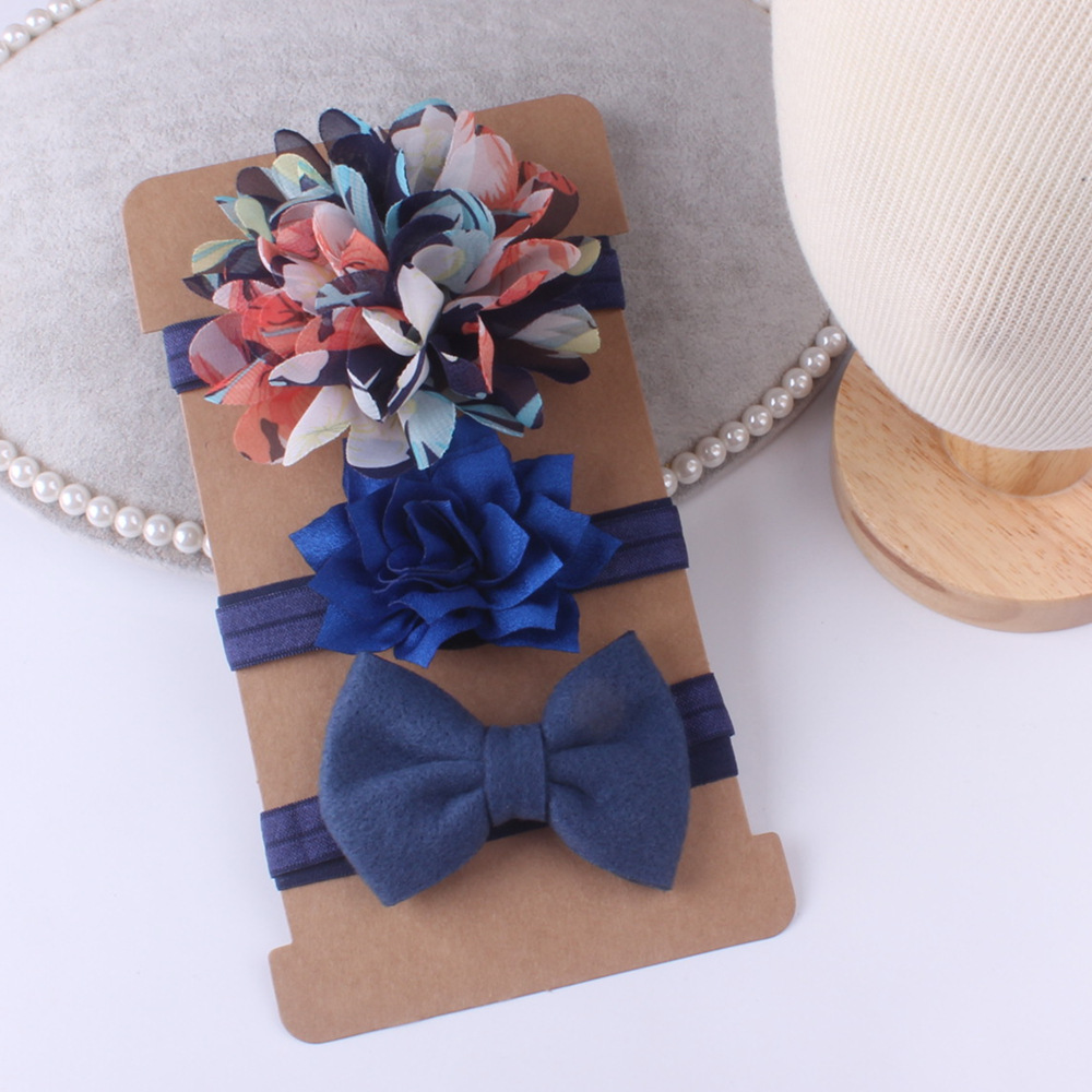 On Sale 3pcs Baby Girl Elastic Bowknot Headband Children Skinny Stretchy Bow Elastic Hair Band Accessories Flower Para Cabelo
