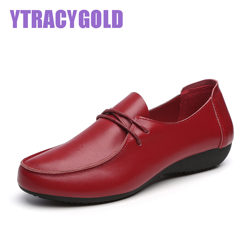 YTRACYGOLD Casual Shoes Woman 2017 Genuine Leather Women Shoes Flats 4 Colors Loafers Lace Up Women's Flat Shoes Moccasins Plus candy color pu leather women bag day clutches patchwork handbag bolsa feminina new design ladies wristlets bags