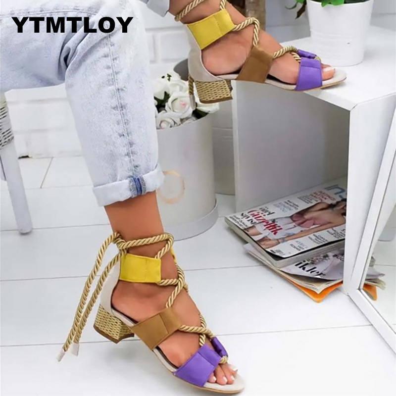 HOT Summer Wedge Espadrilles Women Sandals 5CM Heel Pointed Fish Mouth Sandals Woman Hemp Lace Up Women Platform Sandals 2019