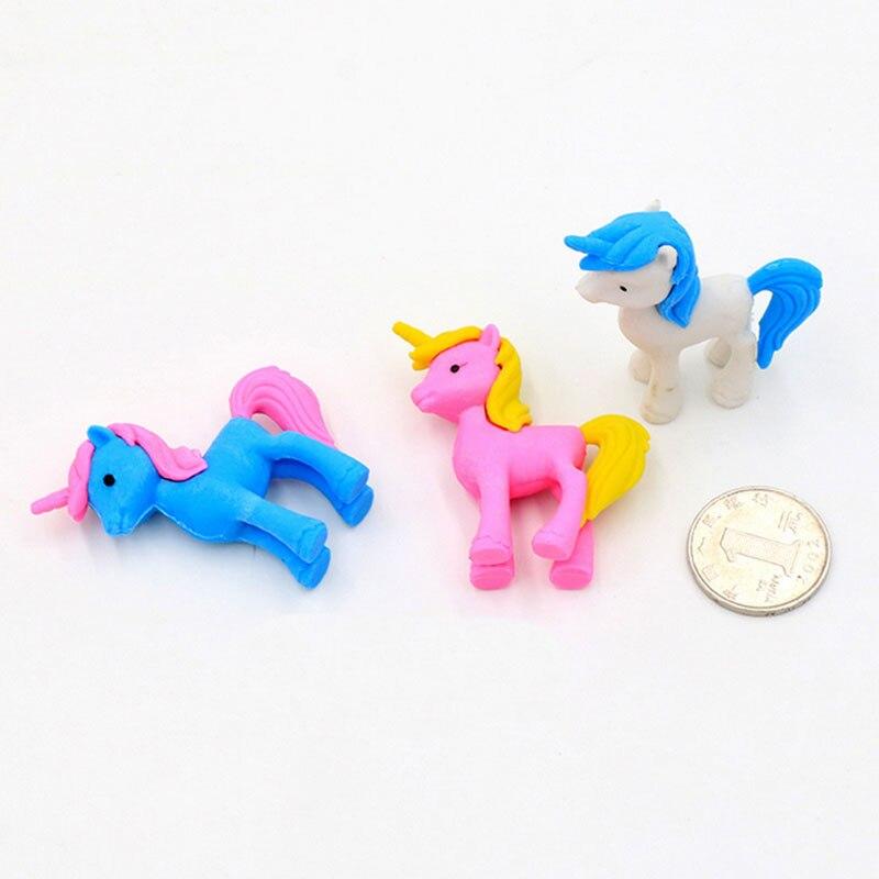 Купить с кэшбэком 2pcs/lot cute Cartoon unicorn Pony eraser children Learning stationery kawaii school supplies papelaria gift for kids