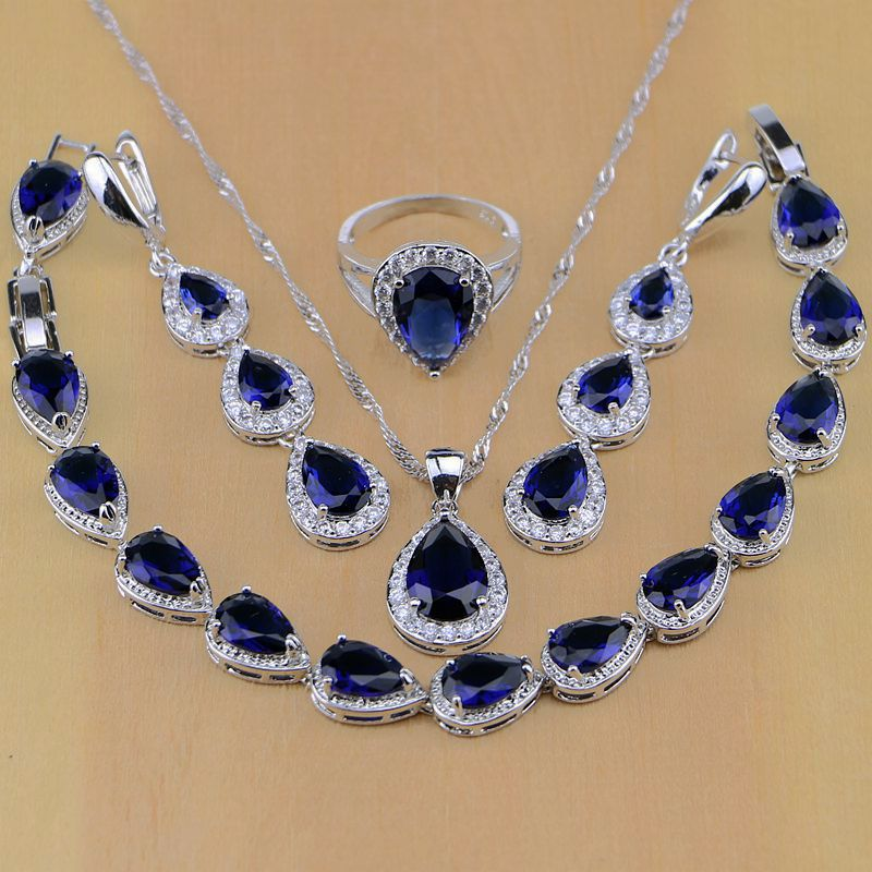 925 Sterling Silber Schmuck Weißen Cz Blau Zirkon Schmuck Sets Für Frauen Ohrringe/anhänger/halskette/ringe/armband