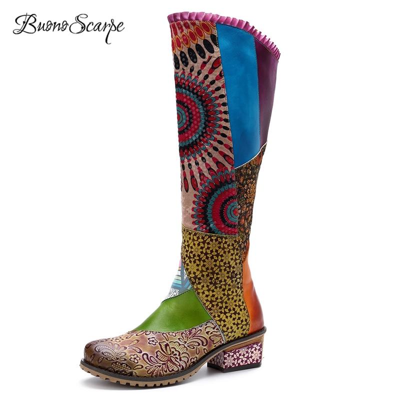BuonoScarpe Women Ethnic Long Boots Genuine Leather Mid Calf Boots Printed Flowers Patchwork Botas Female Zipper