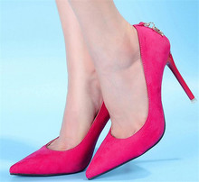 Schnäppchenpreis frauen sexy wildleder spitz rote untere sohle dünne high heels schuhe calzado scarpe scollate damen pumpen 45