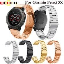 Genuine Stainless Steel 26mm Bracelet Easy Fit Band Strap For Garmin Fenix 5X GPS Quick Release Watchband For Garmin Fenix 3 /HR цена и фото