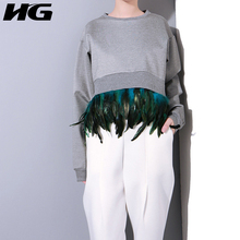 [HG] 2017 Autumn Europe Women Casual Solid Color Hoodies Female Pullovers O-Neck Full Sleeve Patchwork Sweatshirts KY174