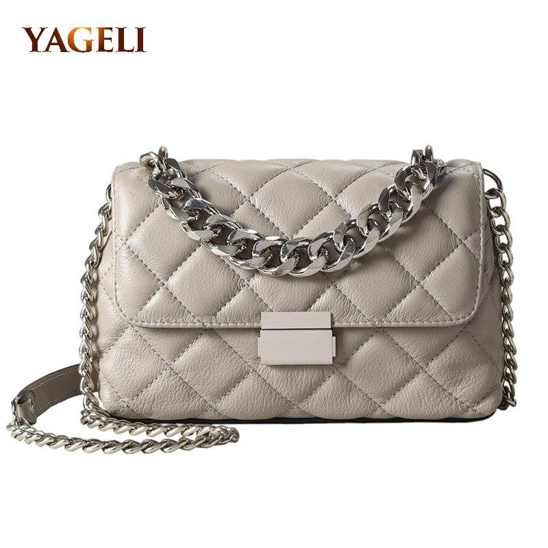 Véritable chaîne en cuir sacs à bandoulière pour femmes sacs à main de luxe femmes sacs designer 2018 mode épaule messenger sacs pour dame
