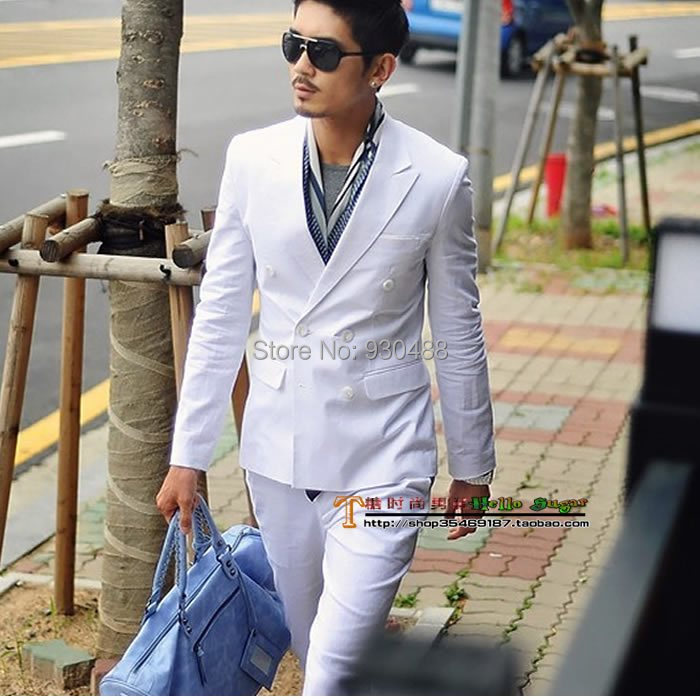 Aliexpress.com : Buy Spring and autumn white double breasted suit ...