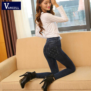 Image 3 - Vangull Women Leggings Faux Denim Jeans Leggings Sexy Long Pocket Printing Spring Winter Leggings Casual Pencil Pants Plus size