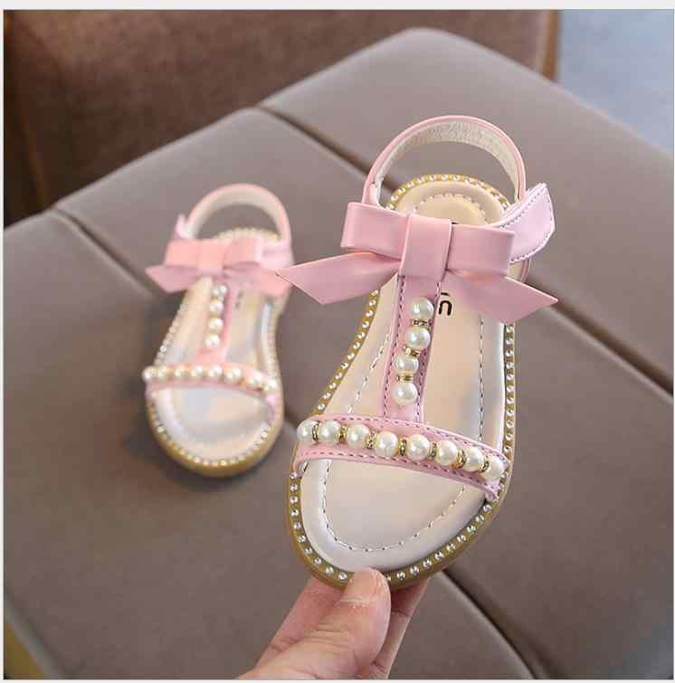 2019 Летние Стильные детские сандалии для девочек, детские пляжные шлепанцы для девочек, милые туфли принцессы с бантом для девочек