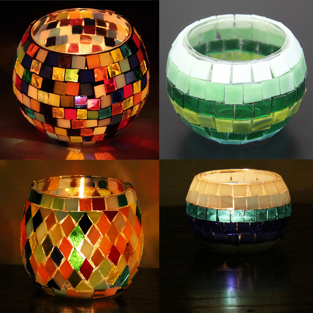 260g Round Rhombus Glass Mosaic Tiles Embellishment for Handmade Ornament