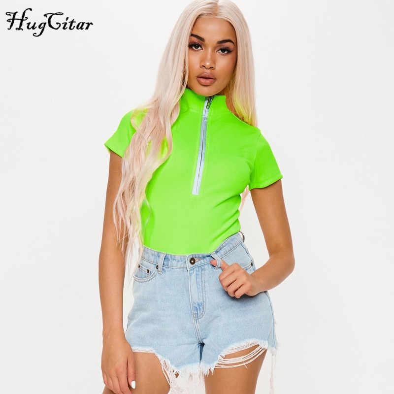 Hugcitar неоновый зеленый молния для высокого воротника светоотражающий лоскутный короткий рукав боди 2019 летняя женская модная уличная облегающая одежда