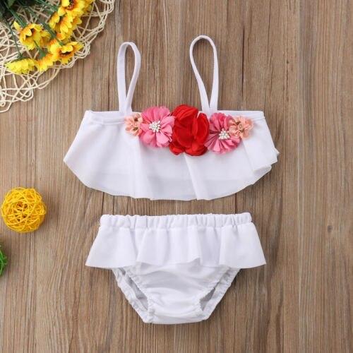 Bescheiden Heißer Kleinkind Mädchen Kinder Swimmable Bikini Set Blume Rüschen Bademode Badeanzug Schwimmen Kostüme Guter Geschmack