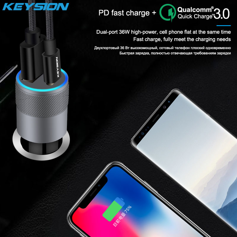 KEYSION 2 Port USB C PD Fast Car Charger for iPhone XS Max XR 8 Plus QC 3 0 Quick Charge Car Charging for Samsung S9 for Xiaomi in Car Chargers from Cellphones Telecommunications