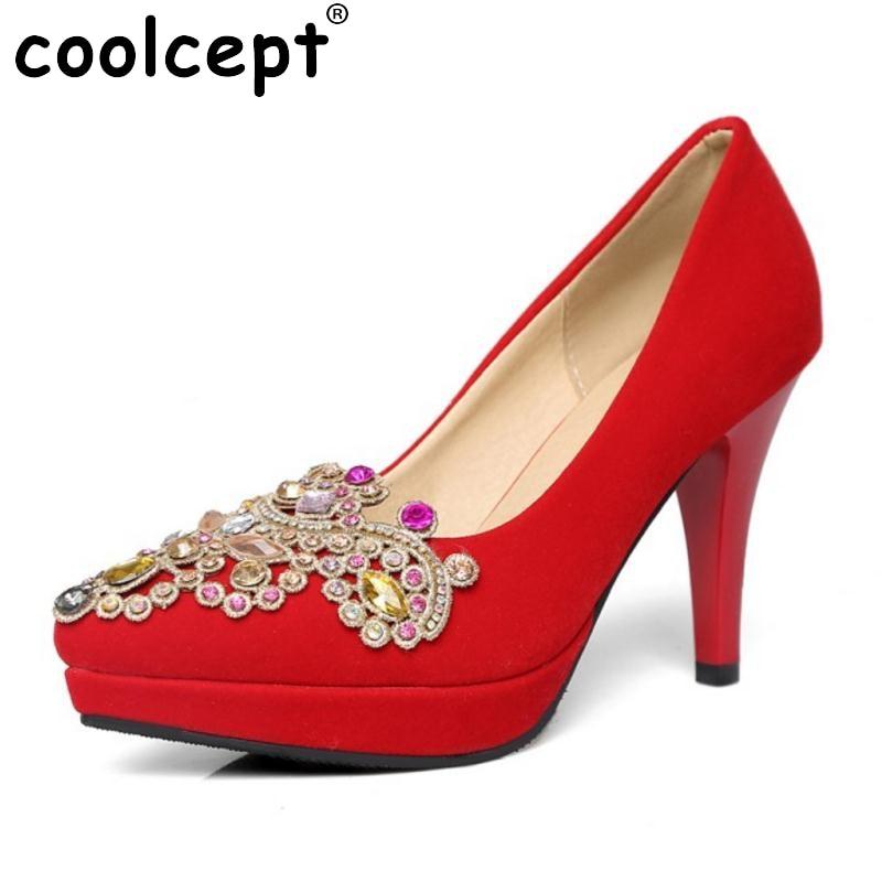 Ladies High Heel Shoes Women Platform Pointed Toe Thin High Heeled Pumps Rninestone Sexy Party Wedding High Heels Footwears цена 2016