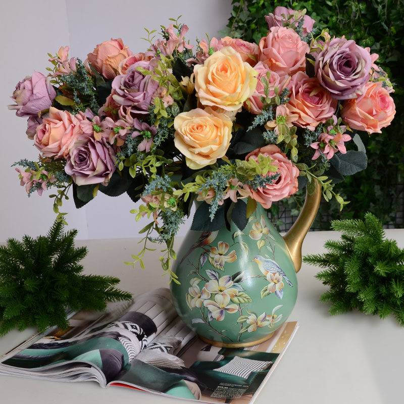 Aliexpress buy fashion artificial flower rustic rose silk aliexpress buy fashion artificial flower rustic rose silk flower living room dining table home fabric wedding decorationlovers day flowers from mightylinksfo