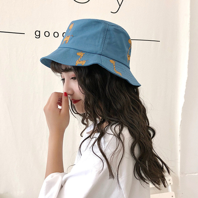 9ae71a9a704 2018 Fashion Women Bucket Hats Cute Animals Deer Printing Flat Bucket Hats  For Female Girls Summer Beach Sunbonnet Holiday Caps