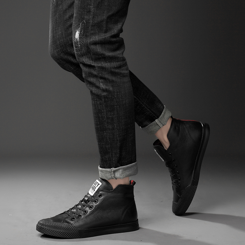 Hip Sapatos Inverno Dos Black 2018 Couro Branco Cotton Outono Genuínas Homem Preto Boot Homens black Add Para New Season white Hop De Botas Lace Season Neve Ankle Cotton up Four Trabalho white Vaca EwxX6XnZqW