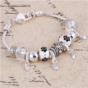 Pink Crystal Charm Silver Bracelets & Bangles for Women  Beads Silver Bracelet Femme Jewelry 23