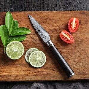 Image 5 - HEZHEN 3.5 soyma mutfak bıçakları VG10 şam çelik yüksek kaliteli dilimleme soyucu meyve sebze bıçak abanoz kolu