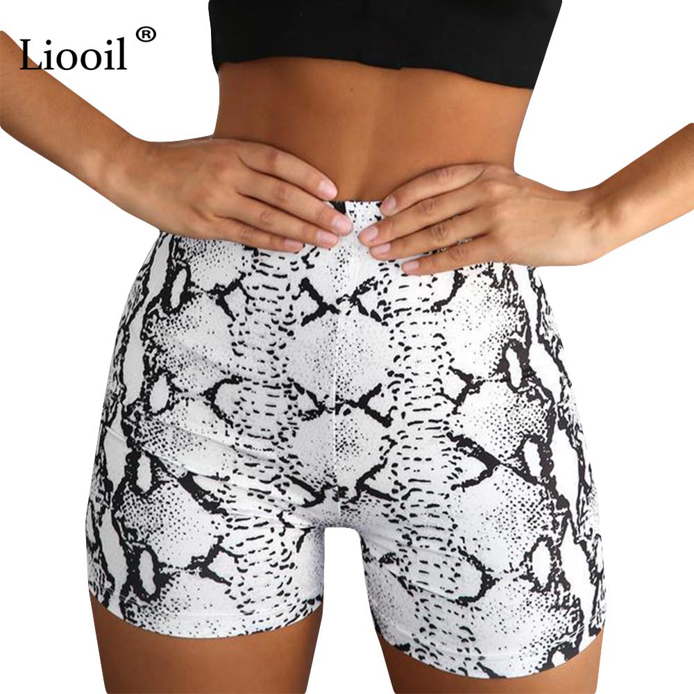 Liooil Sexy White Snake Print   Shorts   Women 2019 Summer Casual Bodycon Spandex   Shorts   Womens Clothing Club High Waist   Short   Pants