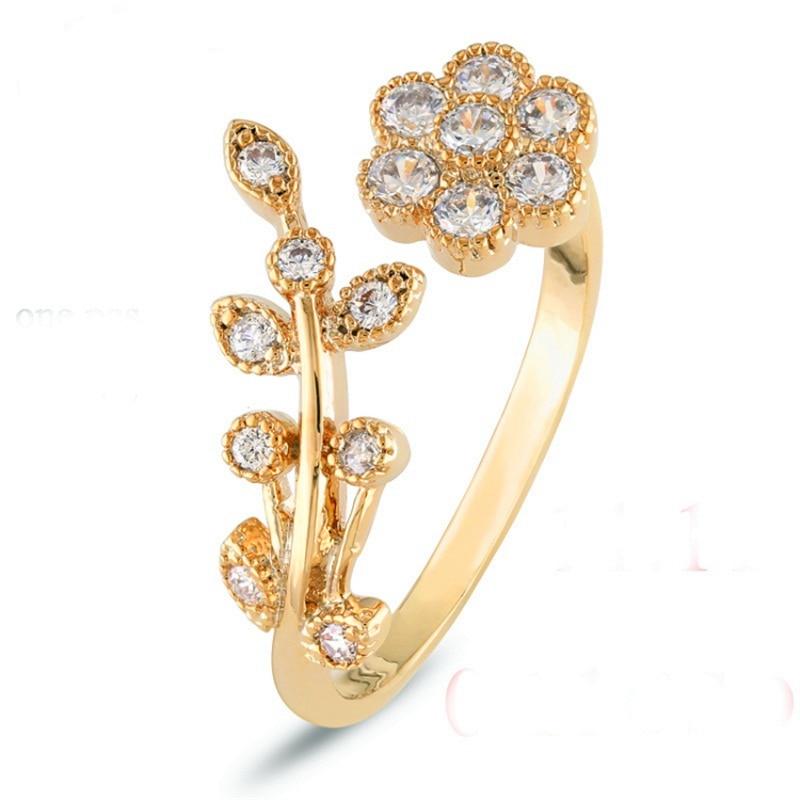 Adjustable Rings For Women Gold Plate Flower Ring Mini Finger Women Rings Fashion Wedding Jewelry christmas gift