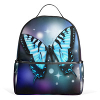 Backpack Blue Butterfly Women Bags for Travel Girls and Boys Notebag School Rucksack Canvas Zipper Bling Bling Backpack 12Inch