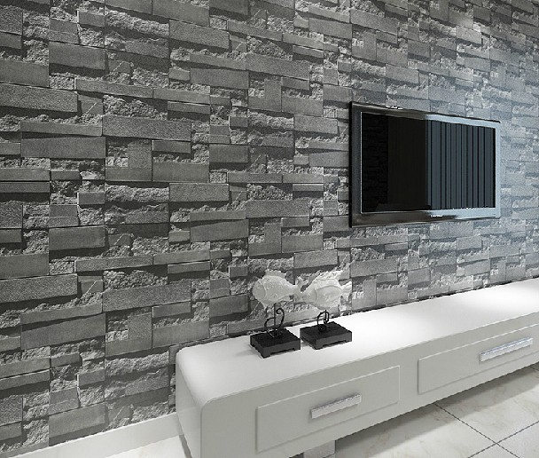 Stacked Brick Stone Wallpaper Modern Wallcovering Pvc Roll Wall Background Grey For Living Room In Wallpapers From Home