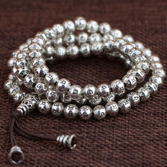 NEW 925 Silver Tibetan Mala Silver Buddhist Prayer Rosary Beads Tibetan 108 Six Words Proverb Beads Mala OM Beaded Buddha Amulet bro904 tibetan 108 beads kingkong bodhi mala 10 11mm fine prayer beads rosary low moq