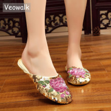 Veowalk Handmade Vintage Womens Slippers Flat Heel Ladies Chinese Bling Sequins Flower Soft Sole Casual Summer Outside Shoes