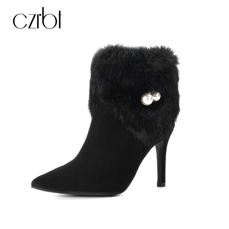 CZRBT Winter Genuine Leather Women Pumps Sexy Thin Heel Ankle Boots Woman Cow Suede Rabbit Fur Pearl Pointed Toe Black Boots цена