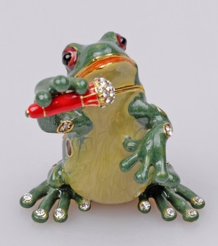 Singing Frog Bejeweled Collectible Trinket Jewelry Box цена 2017