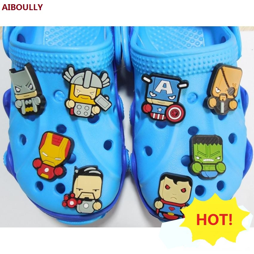 8 pcs/set New Kid my Party little Pawed Patrolling poni super hero avenger Cartoon Theme crocs Dishes Round shoes children gift for boyfriend on anniversary