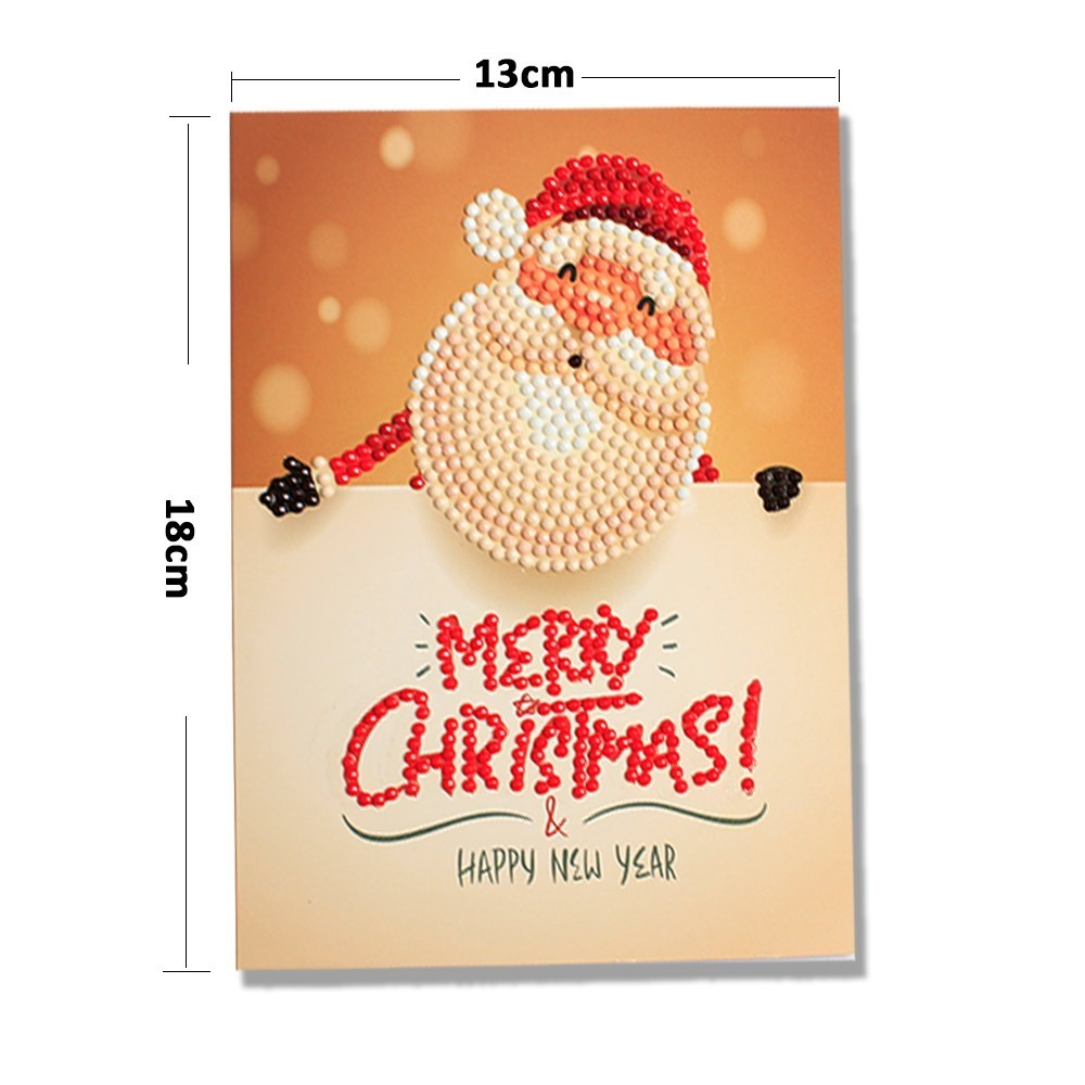 Diamond Painting Cartoon Mini Santa Claus Merry Christmas Paper Greeting Postcards Craft DIY Kids Festival Greet Cards in Diamond Painting Cross Stitch from Home Garden