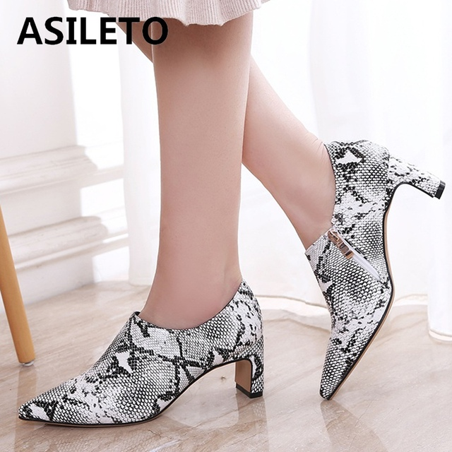 8243a4690f187 ASILETO big size 45 46 Leopard women pumps shoes snakeskin high heels  pointed pump zipper casual office party zapatos mujer