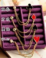 Fashion Cute Collar Clip Color Modern Poker Brooch Chain Brooch Pin Brooch With Chain Brooch For Men/Women