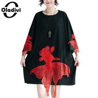 Oladivi Fashion Women Goldfish Embroidered Dress Ladies Casual Loose Cotton Dresses Female Shirt Dress Long Top Tees Tunics 2018
