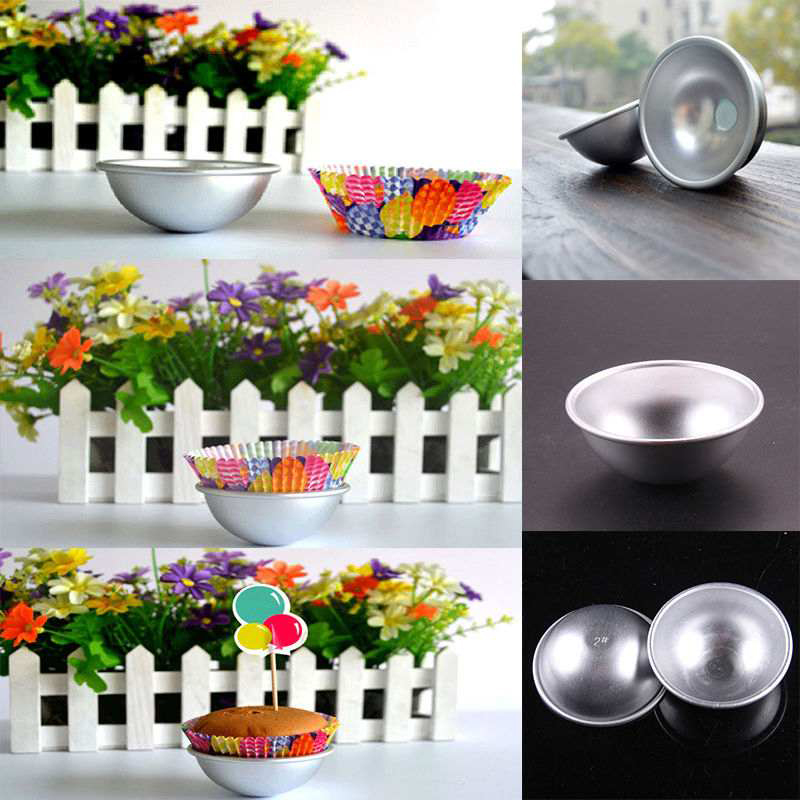 Hot Sale 2 pcs Half Round 3D Molds Aluminum Sphere Bath Bomb Cake Pan Tin Baking Pastry Ball Mold 3 Size Can Choose