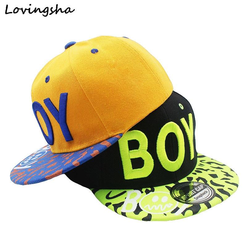 LOVINGSHA New Spring Summer Baby 3D Letter BOY Cap Boy Adjustable Baseball Cap 3-8 Years Kids Snapback Hip-Hop Hats Sun Hat C-12