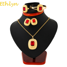 Ethlyn Ethiopian Jewelry Sets Necklaces/Clip Earrings/Ring/Bangle Gold Color Africa Bride Wedding Habesha Eritrea Gift S114