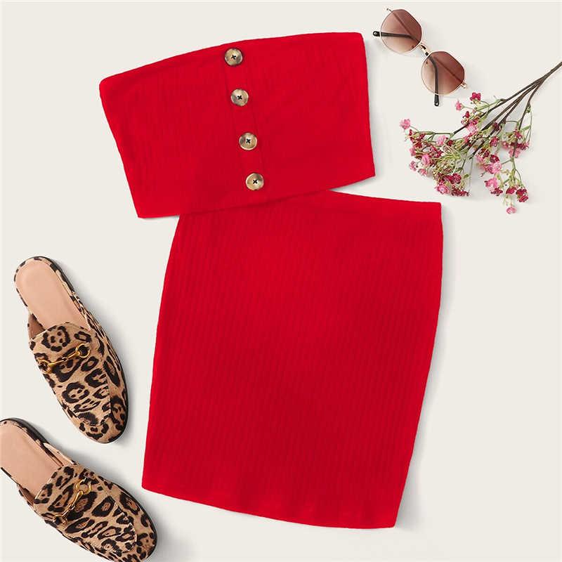 SHEIN пуговицы спереди бюстгальтер bandeau топ и облегающая юбка комплект из двух предметов Для женщин Летняя одноцветная без рукавов Сексуальная одинаковые комплекты