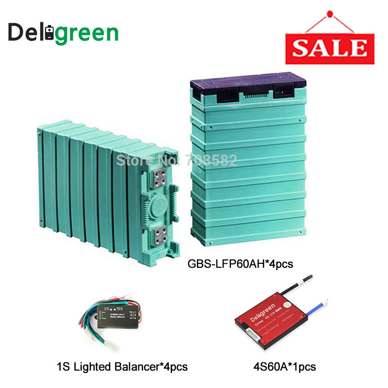 цена на 4pcs GBS Lifepo4 Battery 12v 60ah For solar grid off system with Battery voltage Balance equalizer /4S 60A protection board pcm