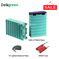 4pcs GBS Lifepo4 Battery 12v 60ah For solar grid off system with Battery voltage Balance equalizer /4S 60A protection board pcm
